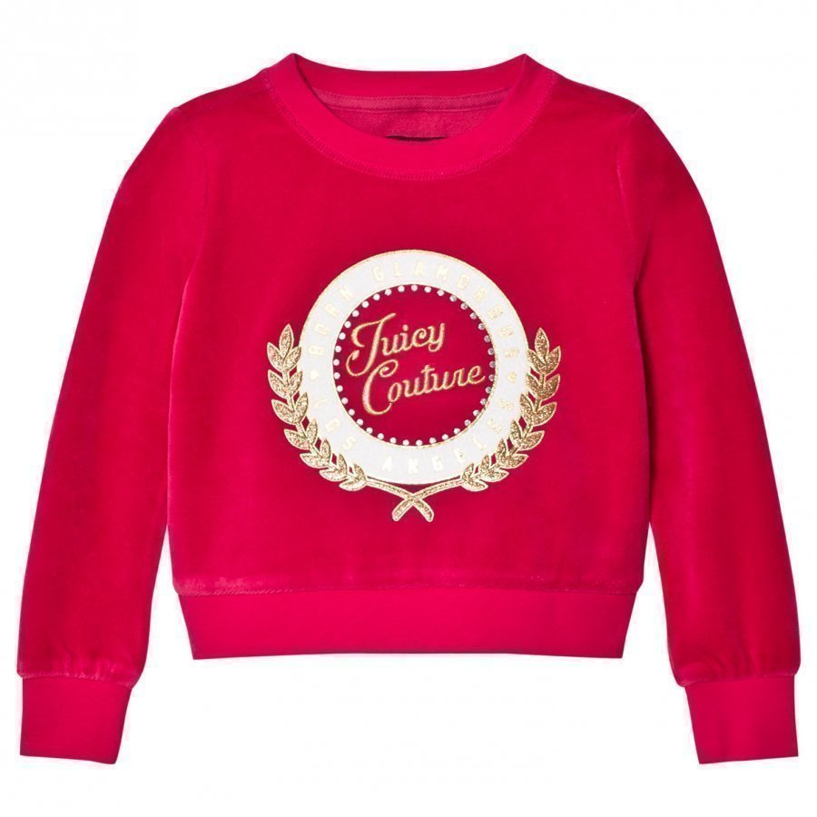 Juicy Couture Fuchsia Glitter Logo Laurel Velour Sweatshirt Oloasun Paita