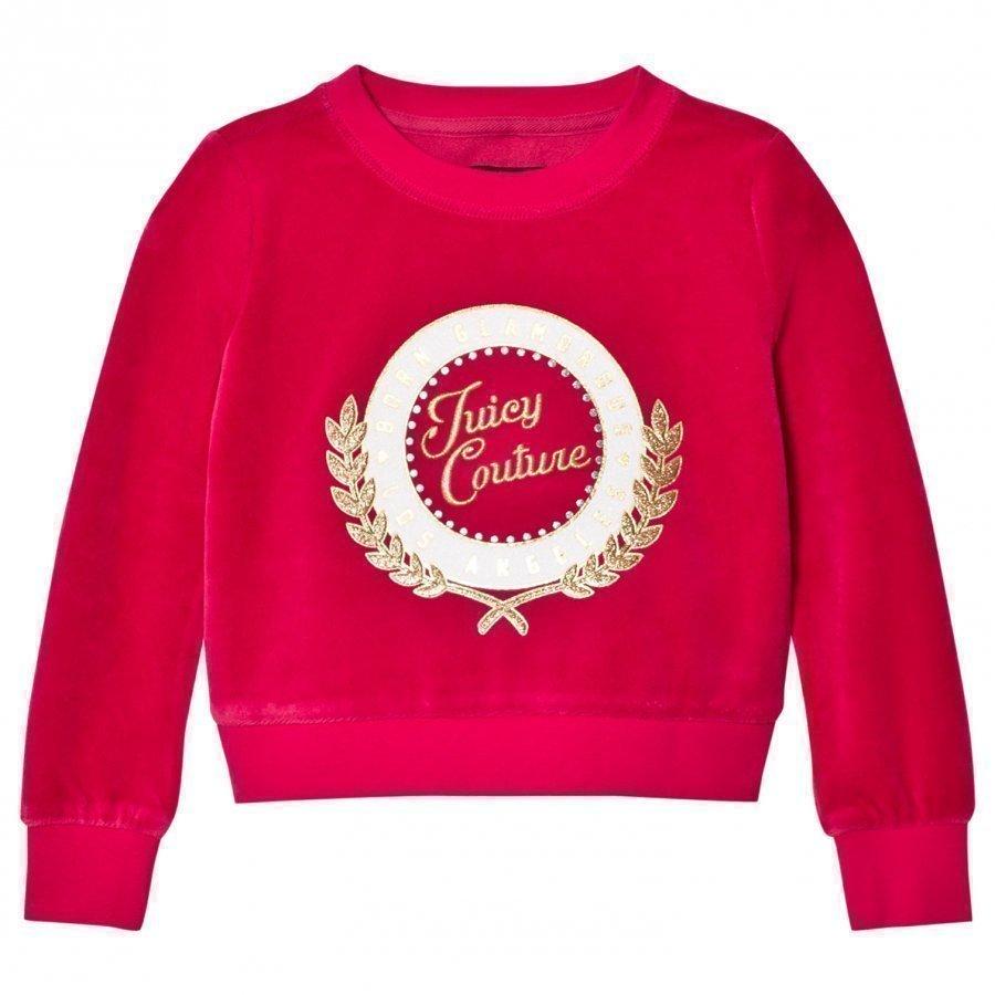 Juicy Couture Fuchsia Glitter Logo Laurel Velour Sweatshirt Oloasun Paita