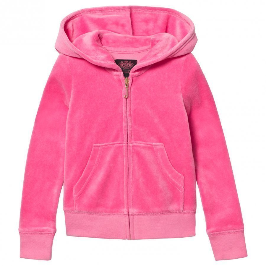 Juicy Couture Hot Pink Velour Scotty Dog Heart And Crown Hoody Huppari