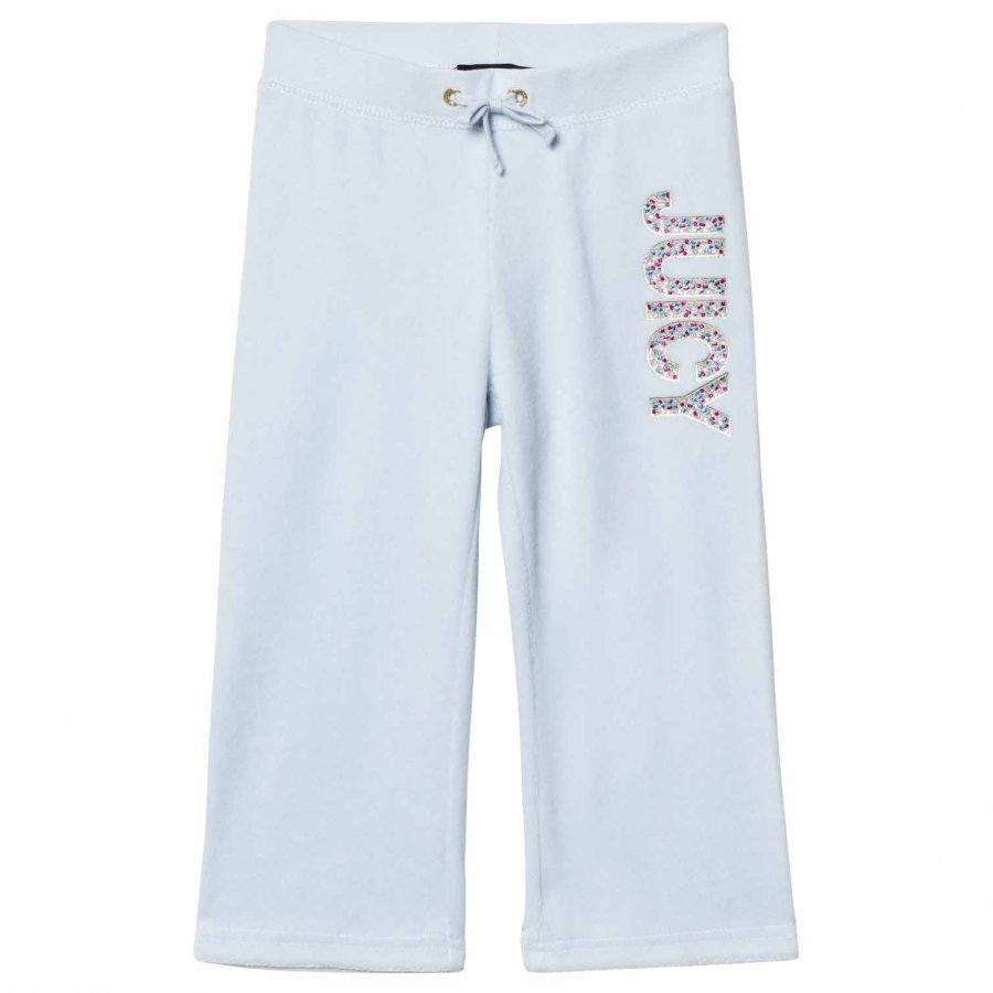 Juicy Couture Ice Blue Jewelled Glitter Velour Track Pants Verryttelyhousut