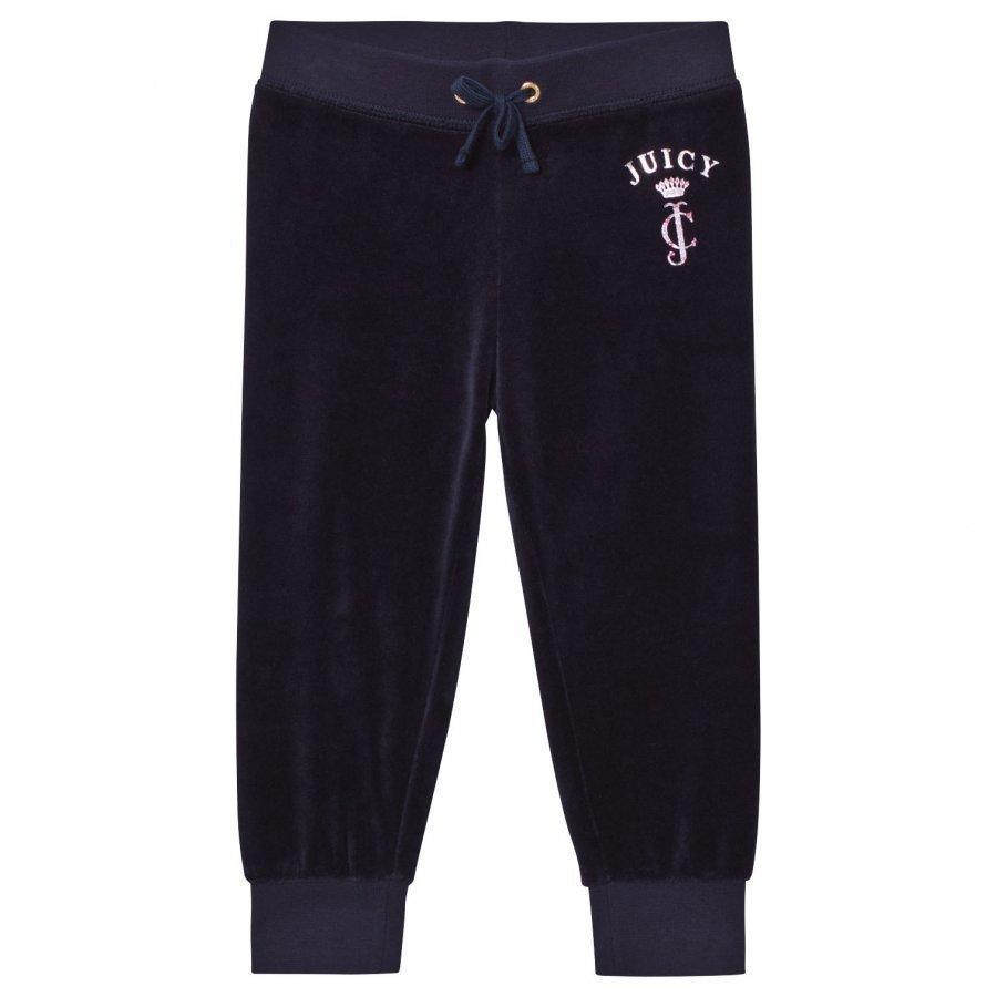 Juicy Couture Navy Floral Jewelled Crest Velour Track Pants Verryttelyhousut