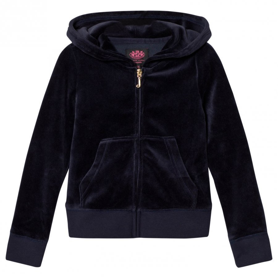 Juicy Couture Navy Jewelled Scotty Logo Velour Hoodie Huppari
