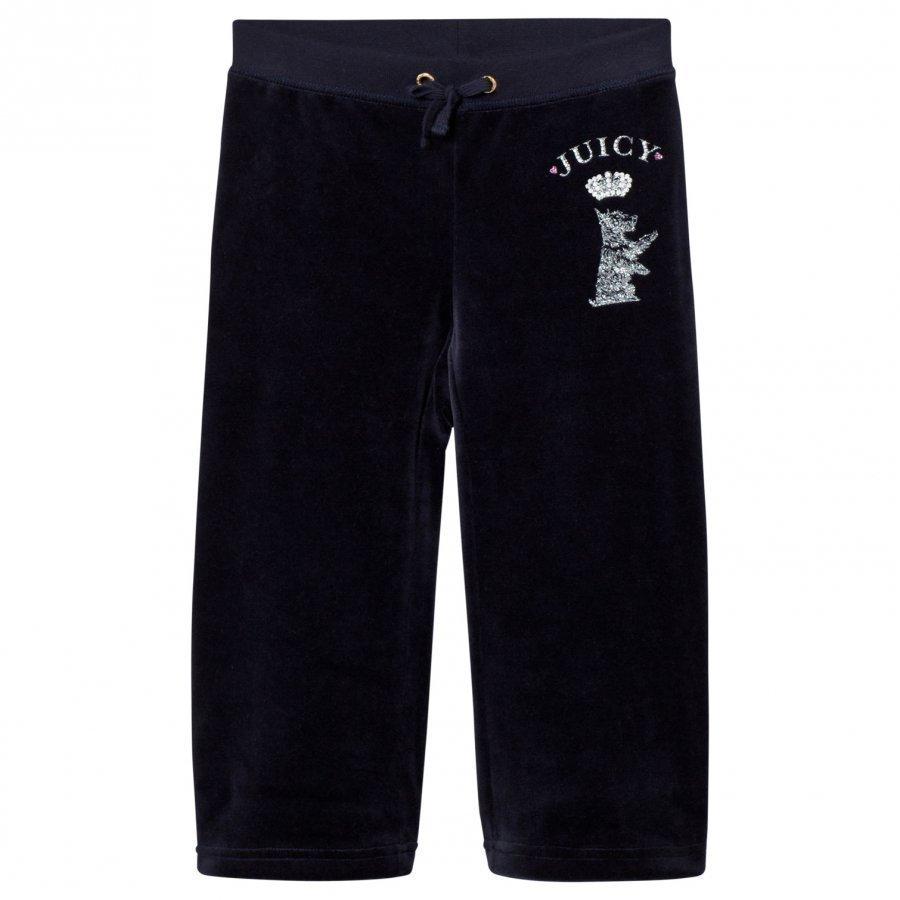 Juicy Couture Navy Jewelled Scotty Logo Velour Track Pants Verryttelyhousut