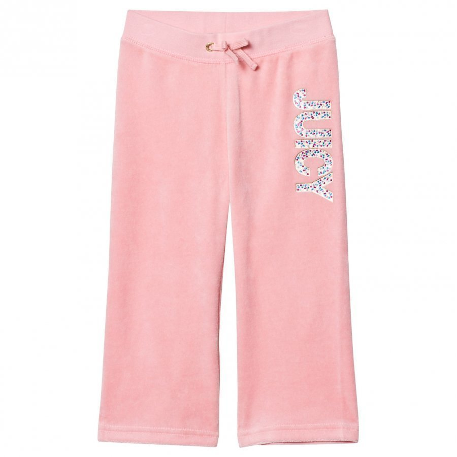 Juicy Couture Pale Peach Jewelled Glitter Velour Track Pants Verryttelyhousut