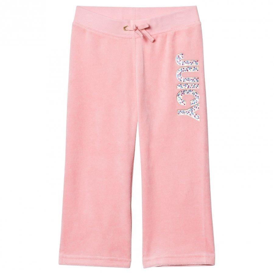 Juicy Couture Pale Peach Jewelled Glitter Velour Track Pants Verryttelyhousut