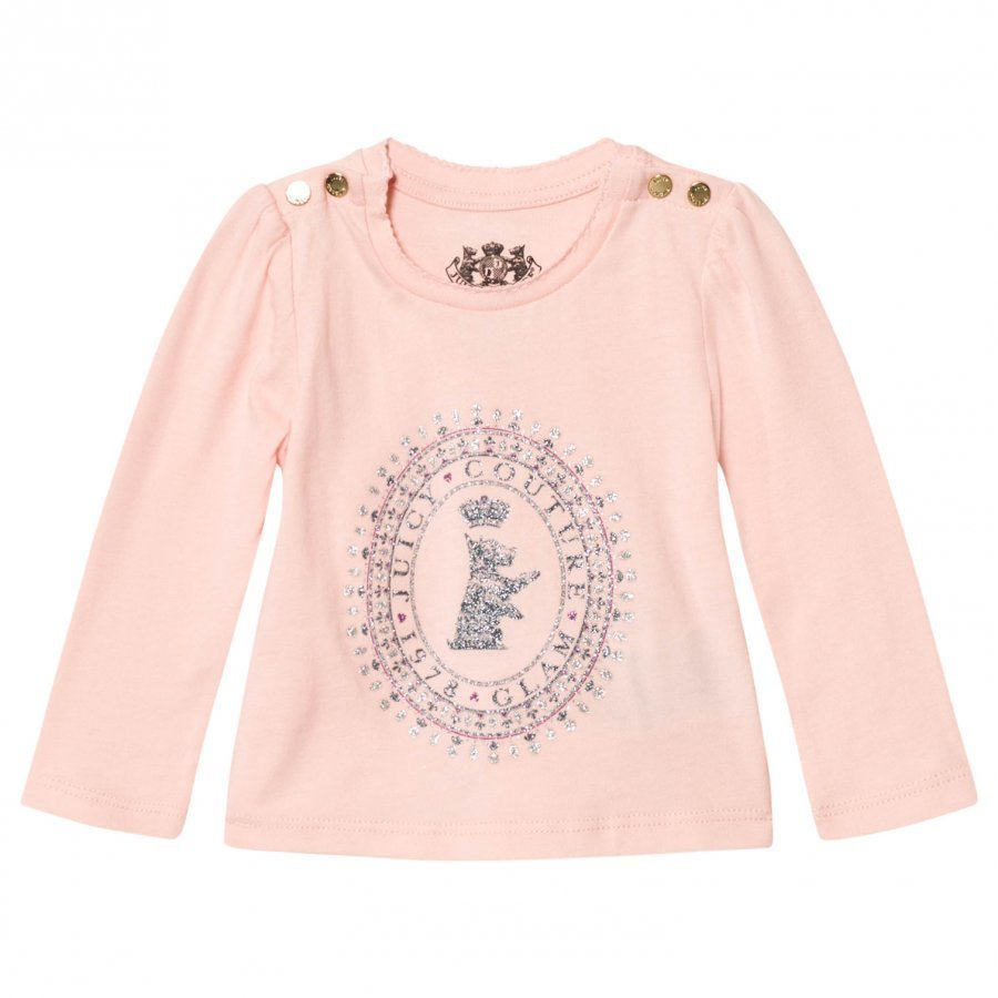 Juicy Couture Pale Pink Glitter Scotty Logo Tee T-Paita