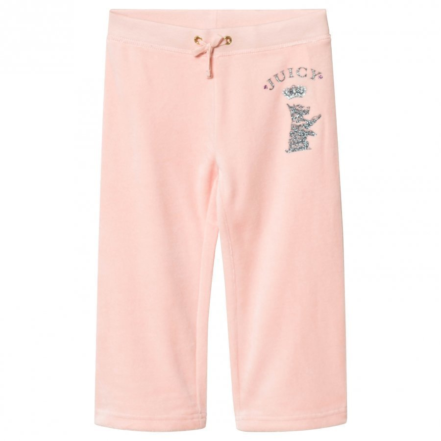 Juicy Couture Pale Pink Jewelled Scotty Logo Velour Track Pants Verryttelyhousut