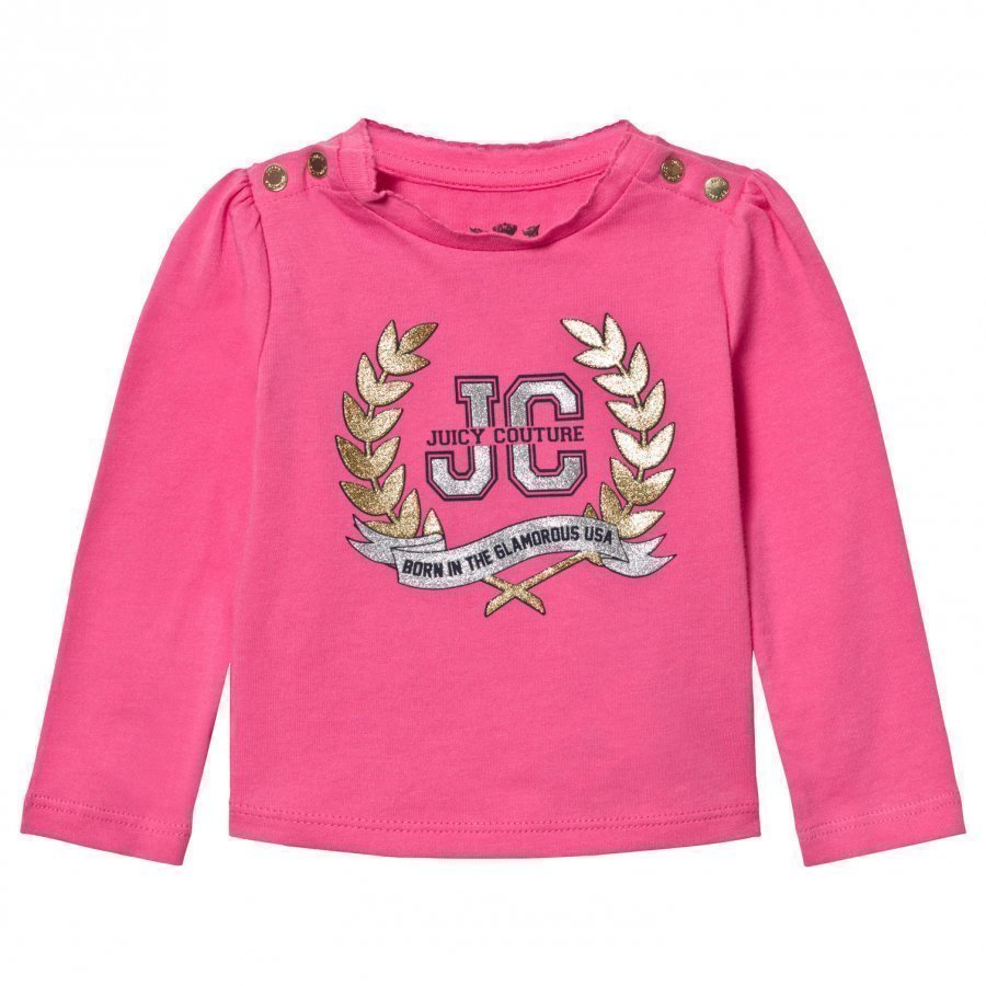 Juicy Couture Pink Glitter Laurel Print Tee T-Paita
