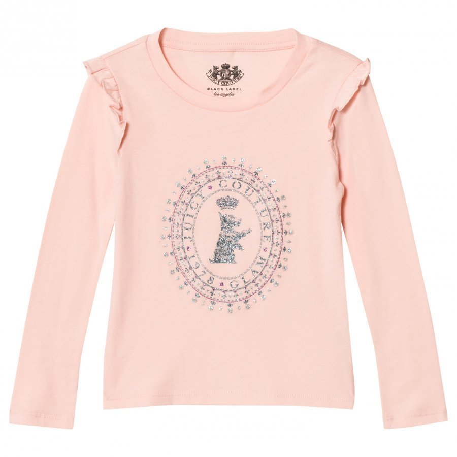 Juicy Couture Pink Jewelled Scotty Logo Frill Tee T-Paita