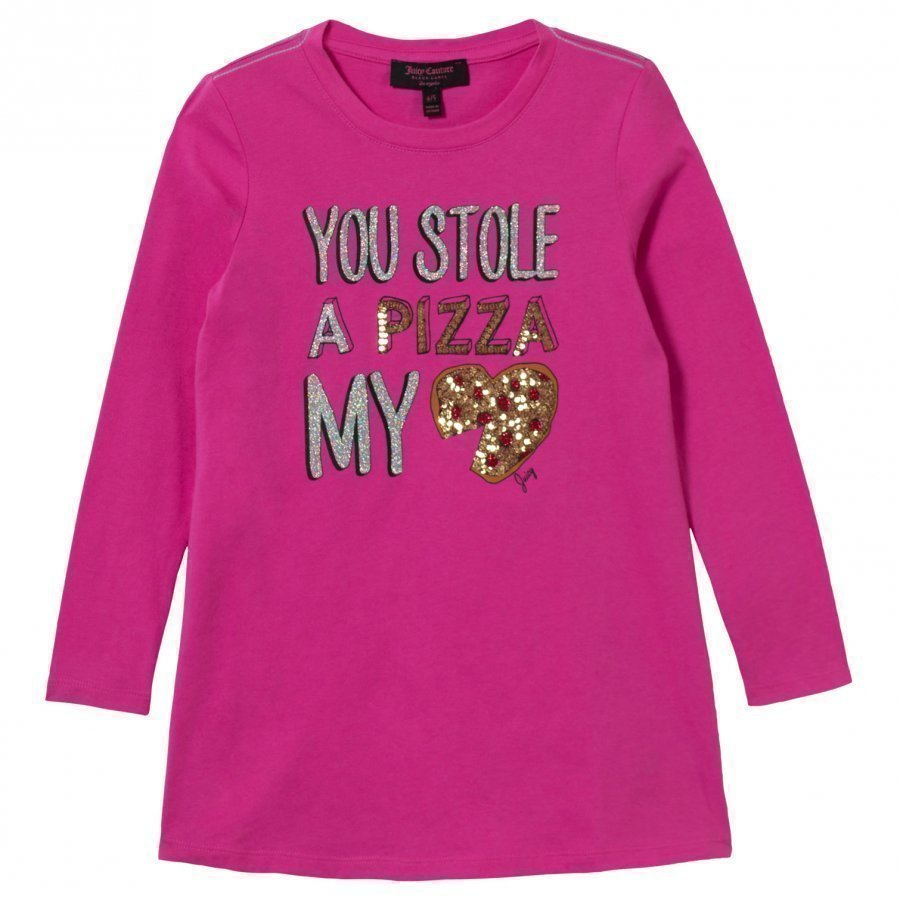 Juicy Couture Pink Sequin Pizza Tee Dress Juhlamekko