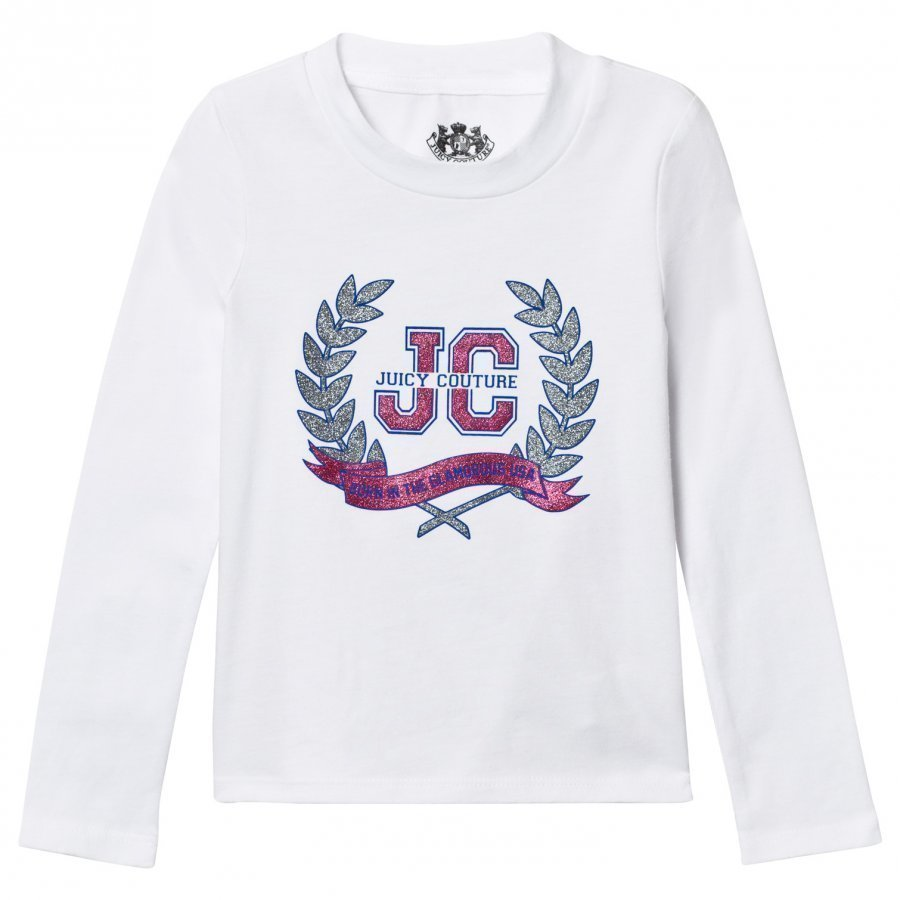 Juicy Couture White Glitter Laurel Print Tee T-Paita