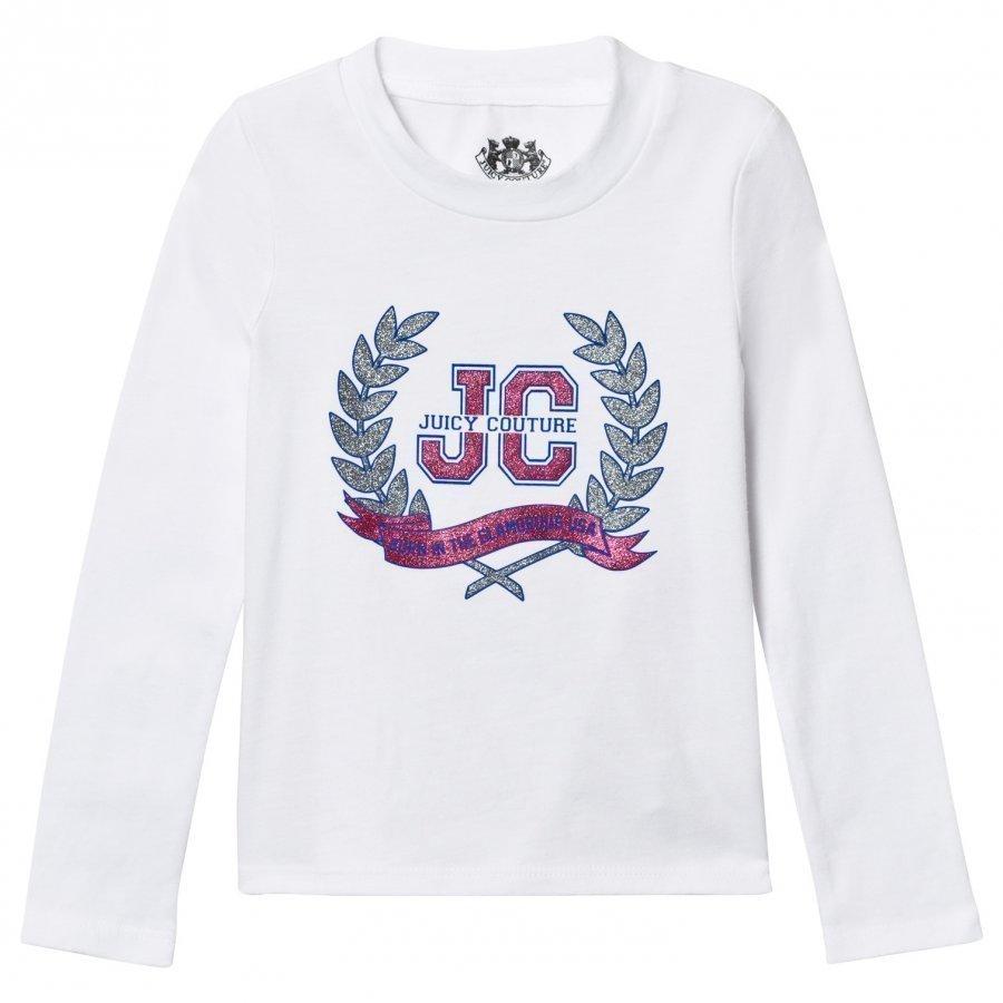 Juicy Couture White Glitter Laurel Print Tee T-Paita