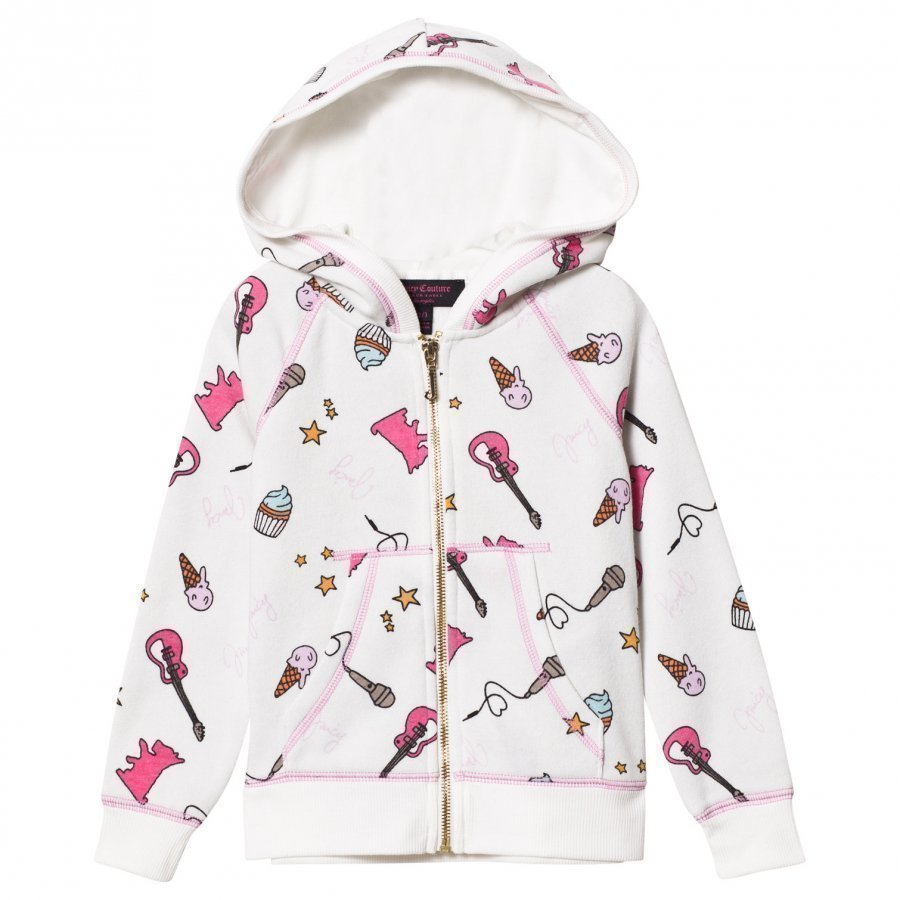 Juicy Couture White Multi Food And Music Print Hoody Huppari