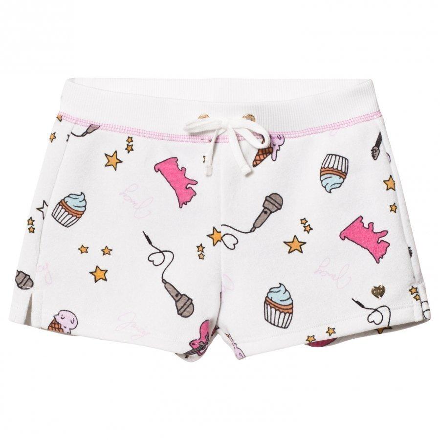 Juicy Couture White Multi Food And Music Print Jersey Shorts Oloasun Shortsit