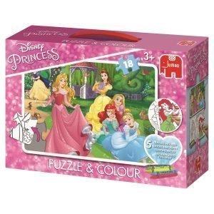 Jumbo Disney Prinsessat Väritettävä Palapeli + 5 Väriliitua