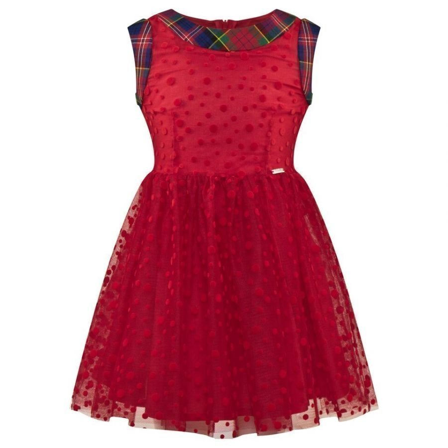 Junior Gaultier Red Tulle Spot Party Dress Juhlamekko