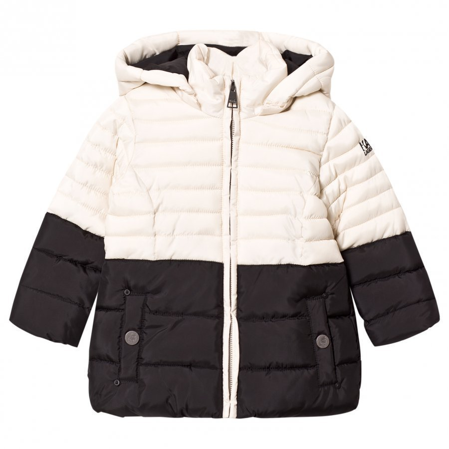 Karl Lagerfeld Kids Black And Cream Puffer Coat Toppatakki