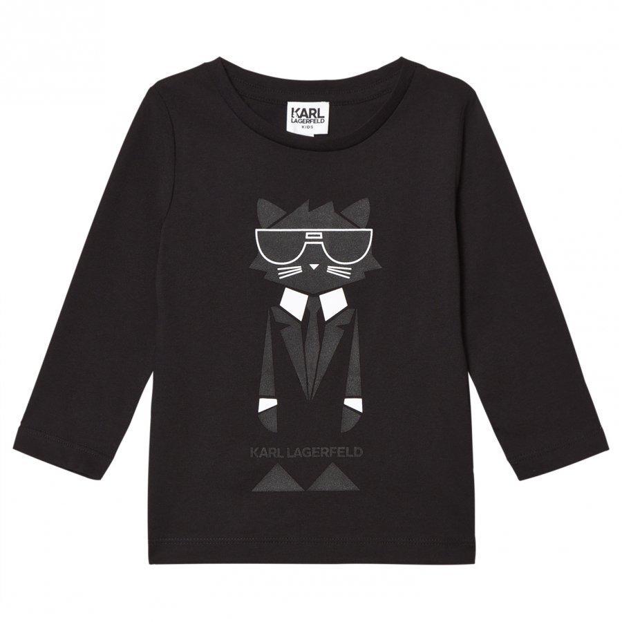 Karl Lagerfeld Kids Black Bad Cat Print Branded Tee T-Paita