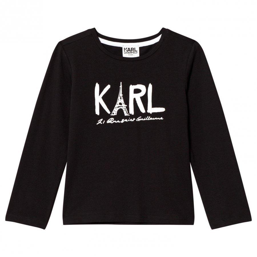 Karl Lagerfeld Kids Black Karl Eiffel Tower Printed Tee T-Paita