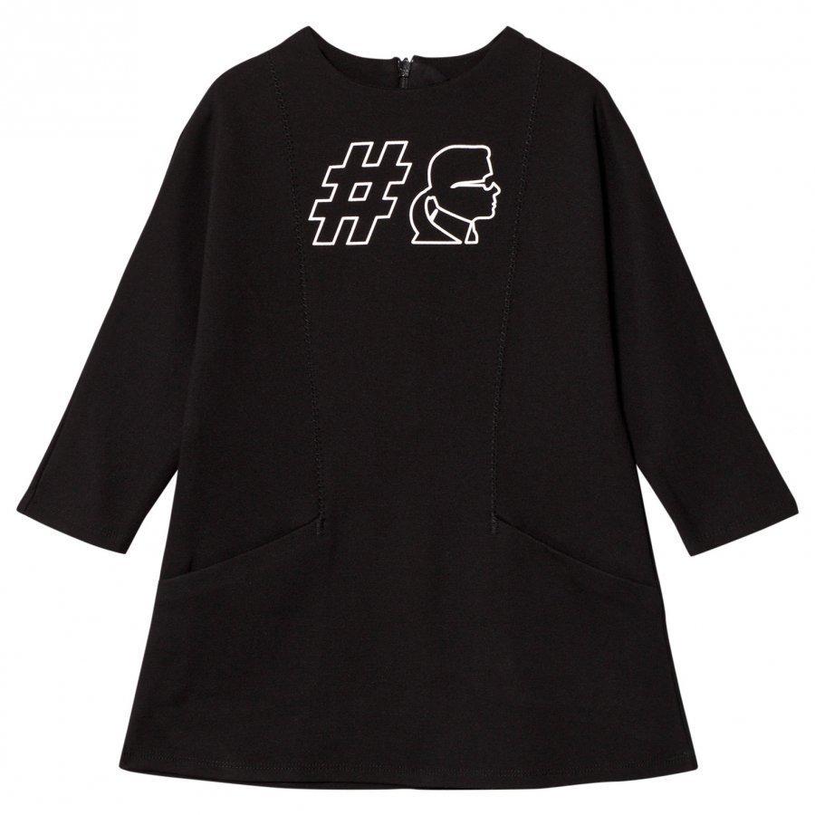 Karl Lagerfeld Kids Black #Karl Jersey Dress With Pockets Mekko