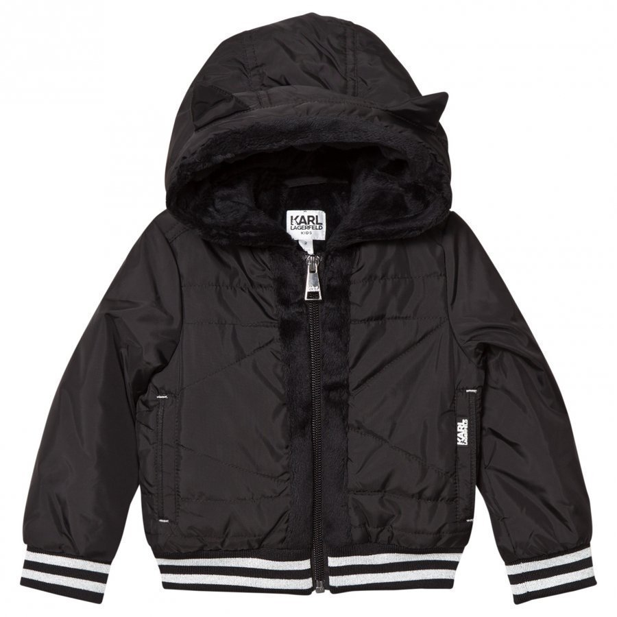 Karl Lagerfeld Kids Black Nylon Hooded Jacket Toppatakki