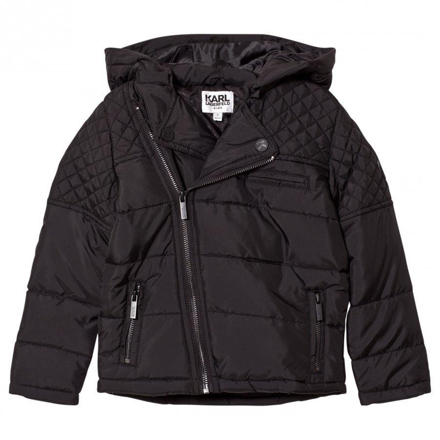 Karl Lagerfeld Kids Black Quilted Biker Puffer Coat Toppatakki