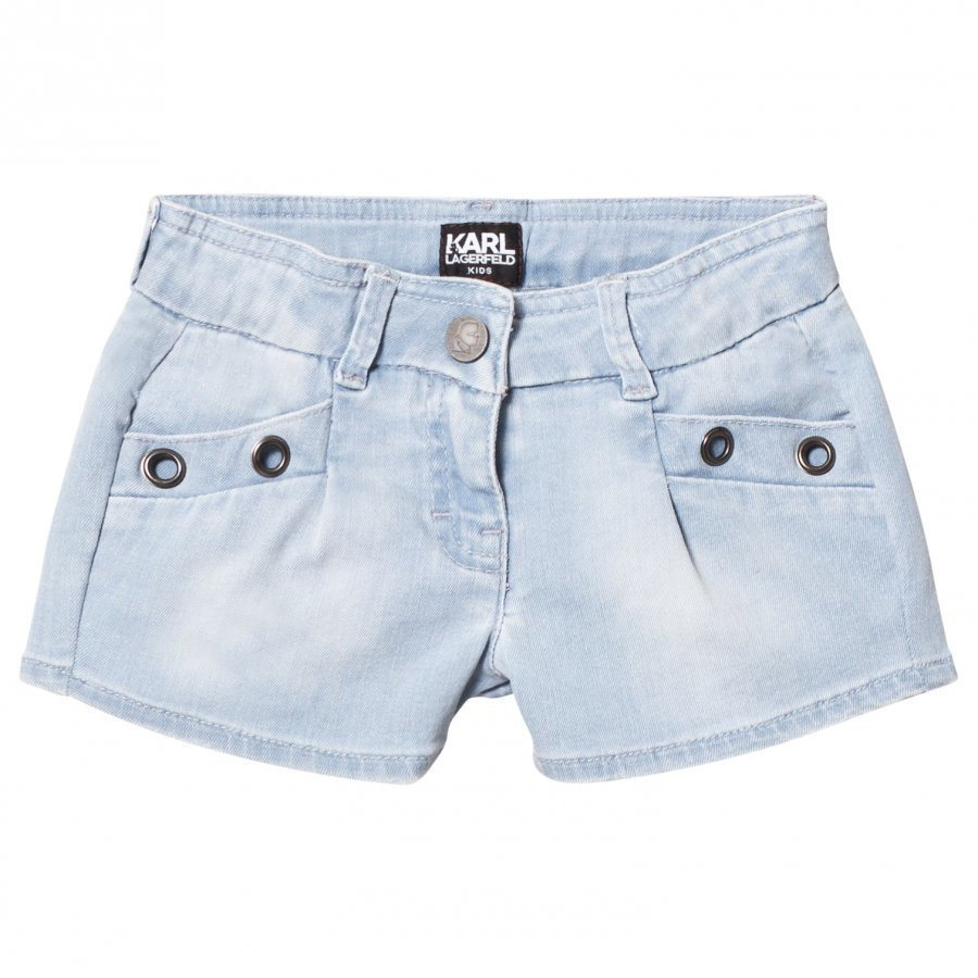 Karl Lagerfeld Kids Blue Denim Shorts With Grommet Detail Farkkushortsit
