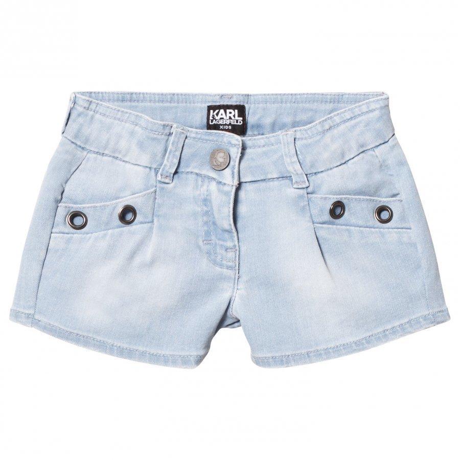 Karl Lagerfeld Kids Blue Denim Shorts With Grommet Detail Farkkushortsit