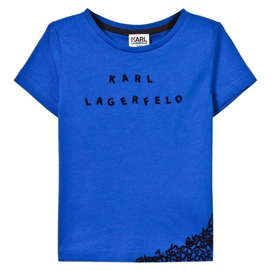 Karl Lagerfeld Kids Blue Karl Branded Letter Tee T-Paita