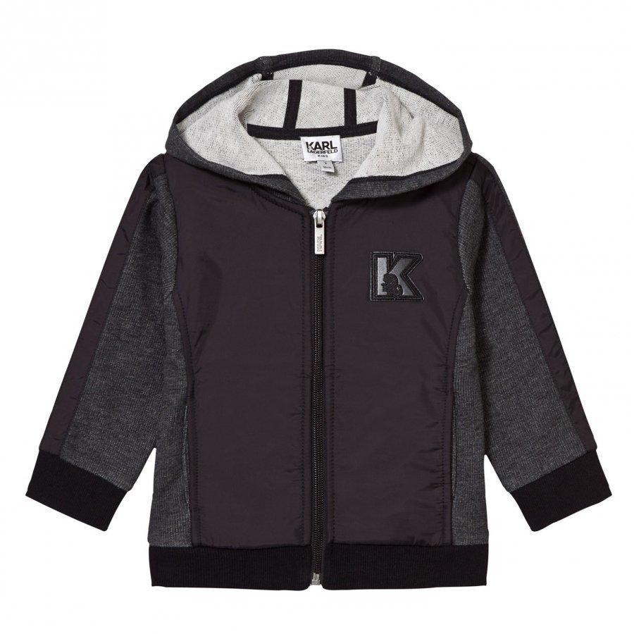 Karl Lagerfeld Kids Charcoal Marl And Black Branded Hoody Huppari