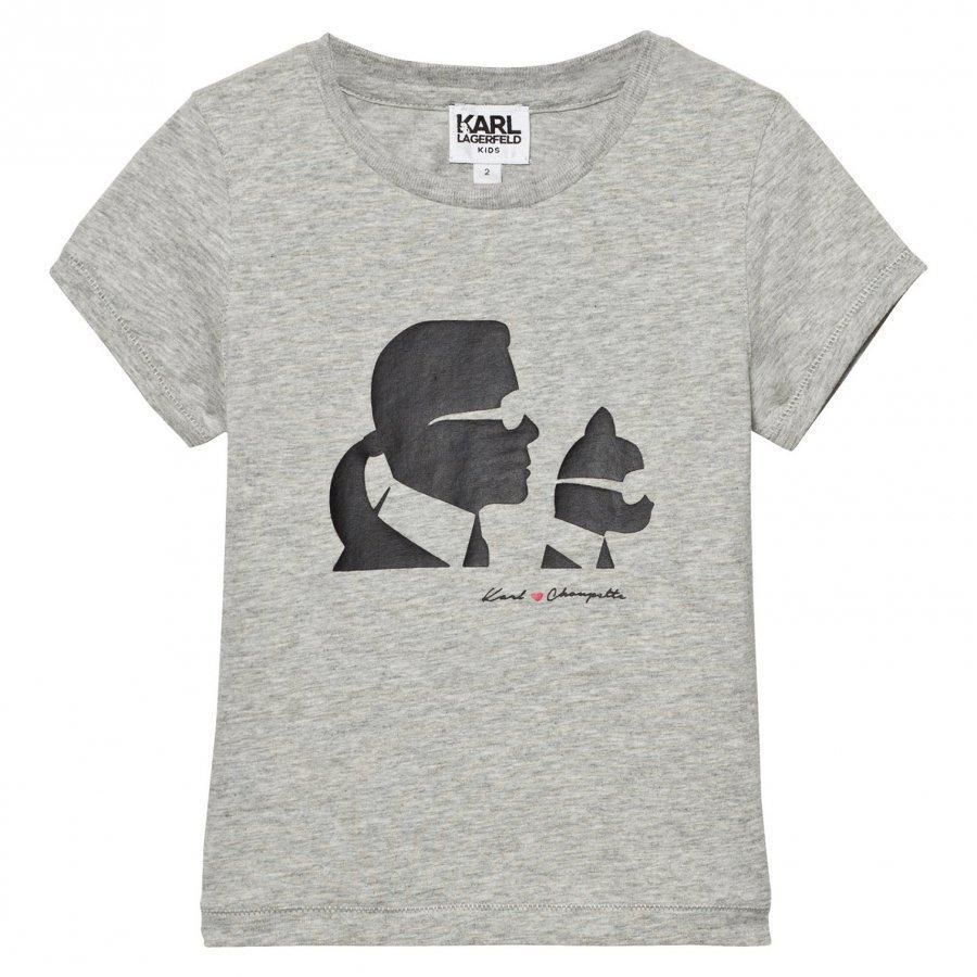 Karl Lagerfeld Kids Grey Karl And Choupette Print Tee Mini Me T-Paita