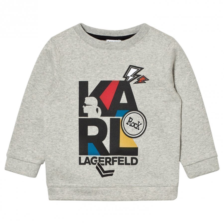 Karl Lagerfeld Kids Grey Marl Karl Print Embroidered Sweatshirt Oloasun Paita
