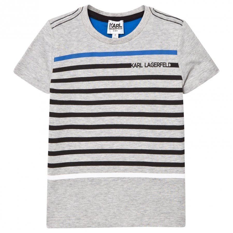 Karl Lagerfeld Kids Grey Marl Stripe Branded Tee T-Paita