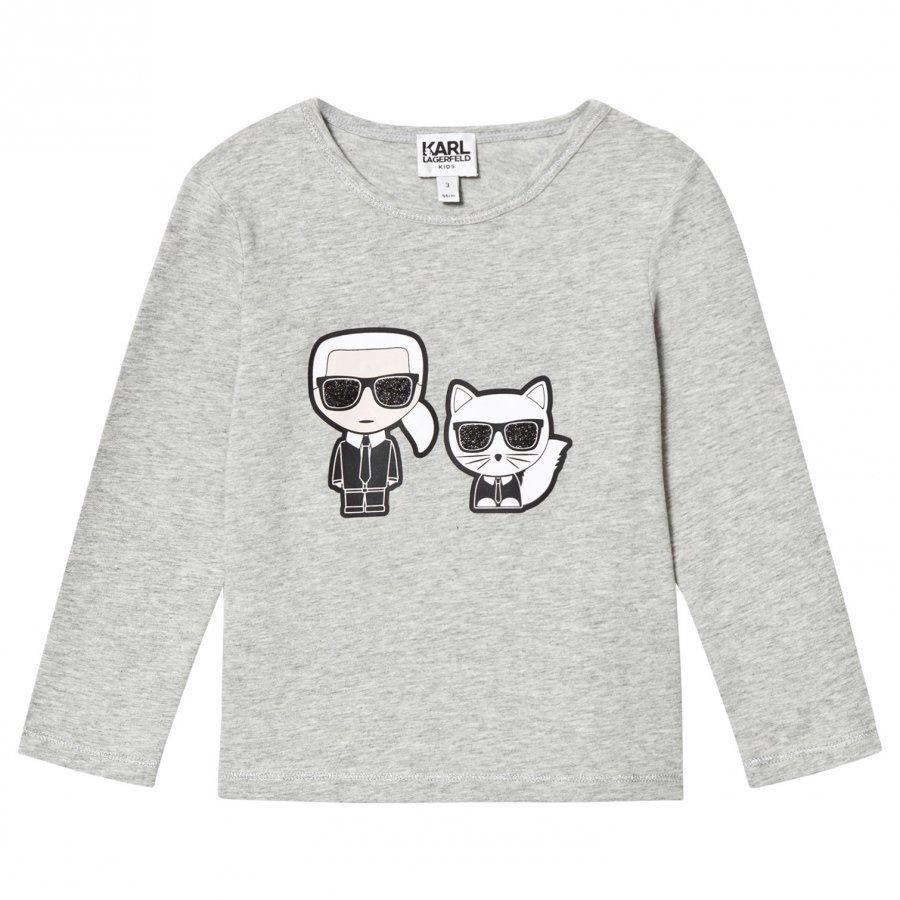 Karl Lagerfeld Kids Karl Choupette Print Tee Grey Marl T-Paita