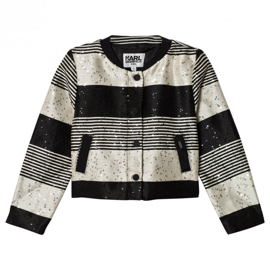 Karl Lagerfeld Kids Multi Tweed And Sequin Collarless Jacket Bleiseri