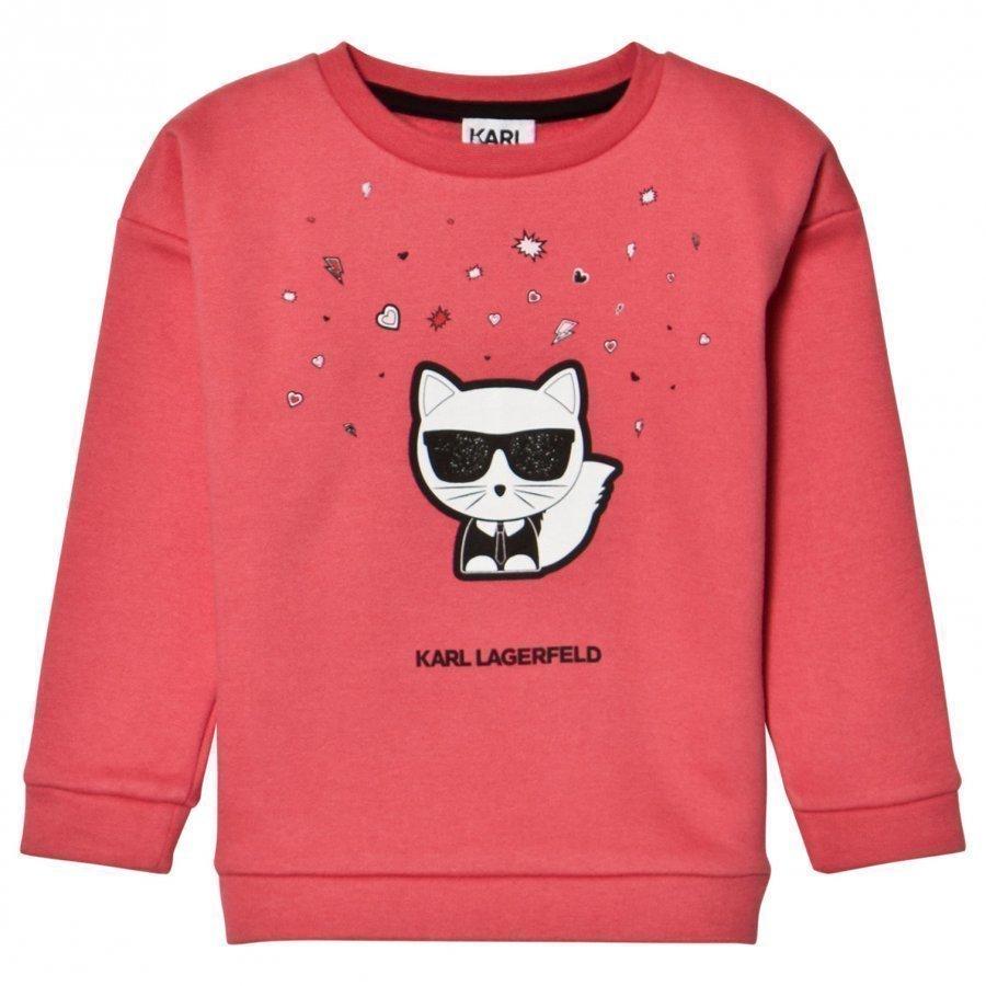 Karl Lagerfeld Kids Pink Choupette And Emoji Sweatshirt Oloasun Paita