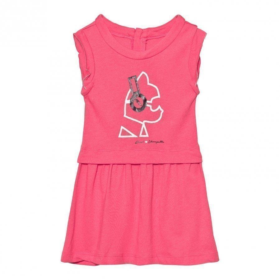 Karl Lagerfeld Kids Pink Choupette Headphones Print Jersey Dress Mekko