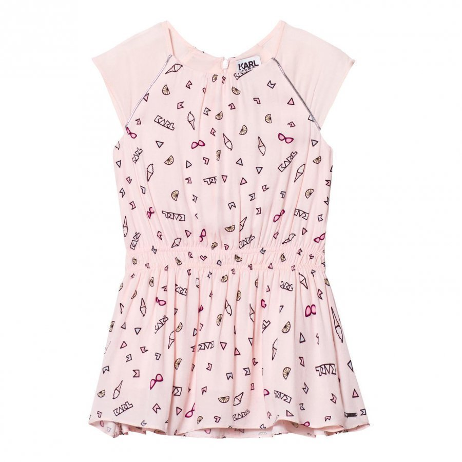 Karl Lagerfeld Kids Pink Icon Print Cap Sleeve Drop Waist Dress Mekko