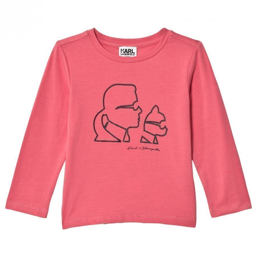 Karl Lagerfeld Kids Pink Karl And Choupette Printed Tee T-Paita