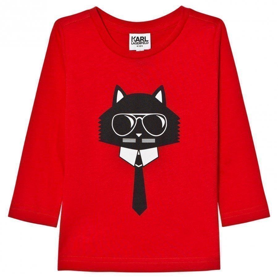 Karl Lagerfeld Kids Red Bad Cat Print Long Sleeve Tee T-Paita