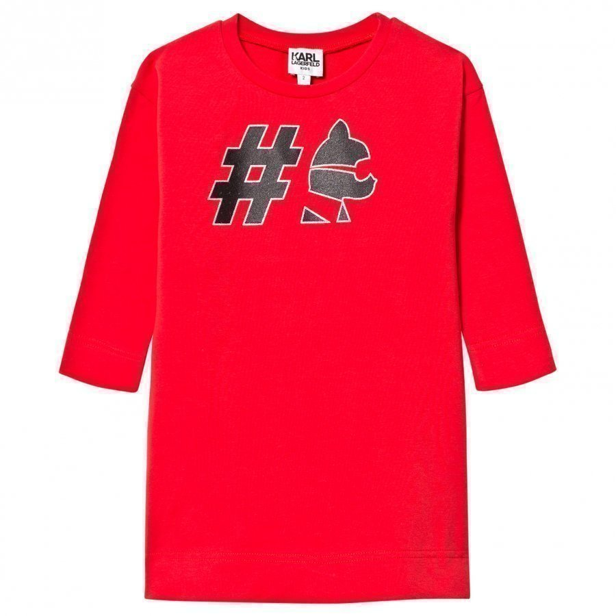 Karl Lagerfeld Kids Red #Choupette Sweater Dress Mekko