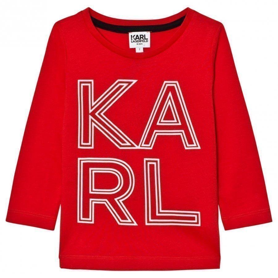 Karl Lagerfeld Kids Red Karl Print Long Sleeve Tee T-Paita