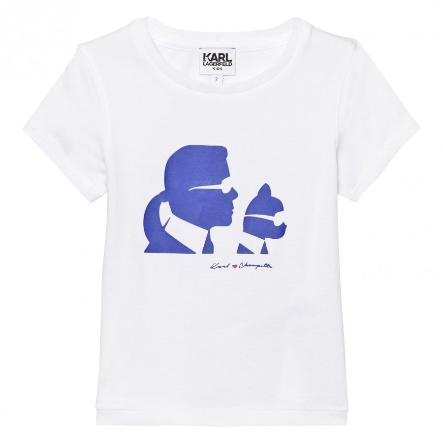 Karl Lagerfeld Kids White Karl And Choupette Print Tee Mini Me T-Paita