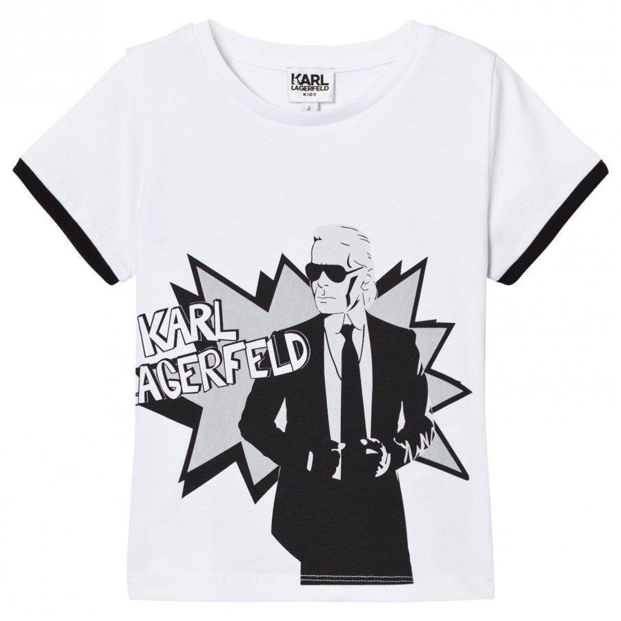 Karl Lagerfeld Kids White Karl Print Branded Tee T-Paita