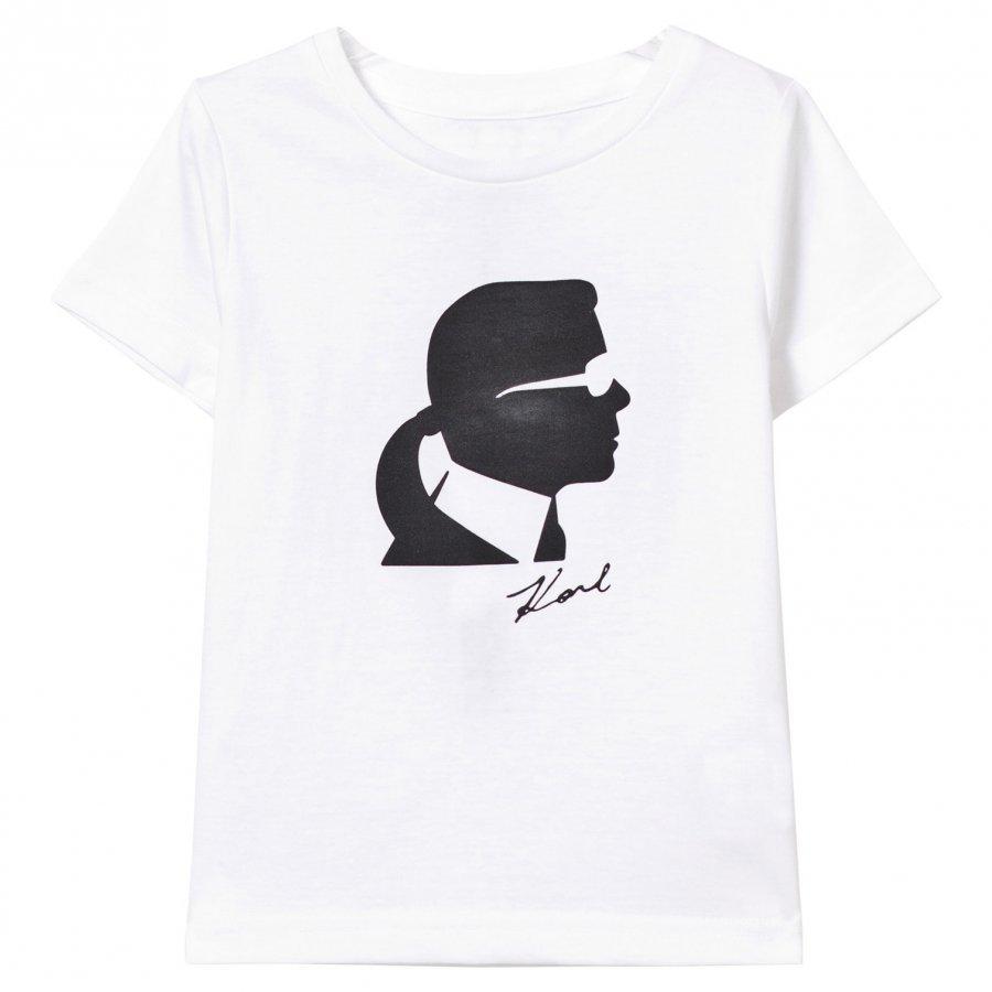 Karl Lagerfeld Kids White Karl Silhouette Print Tee Mini Me T-Paita