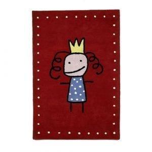 Kateha Tiny Prinsessa Lasten Matto Punainen