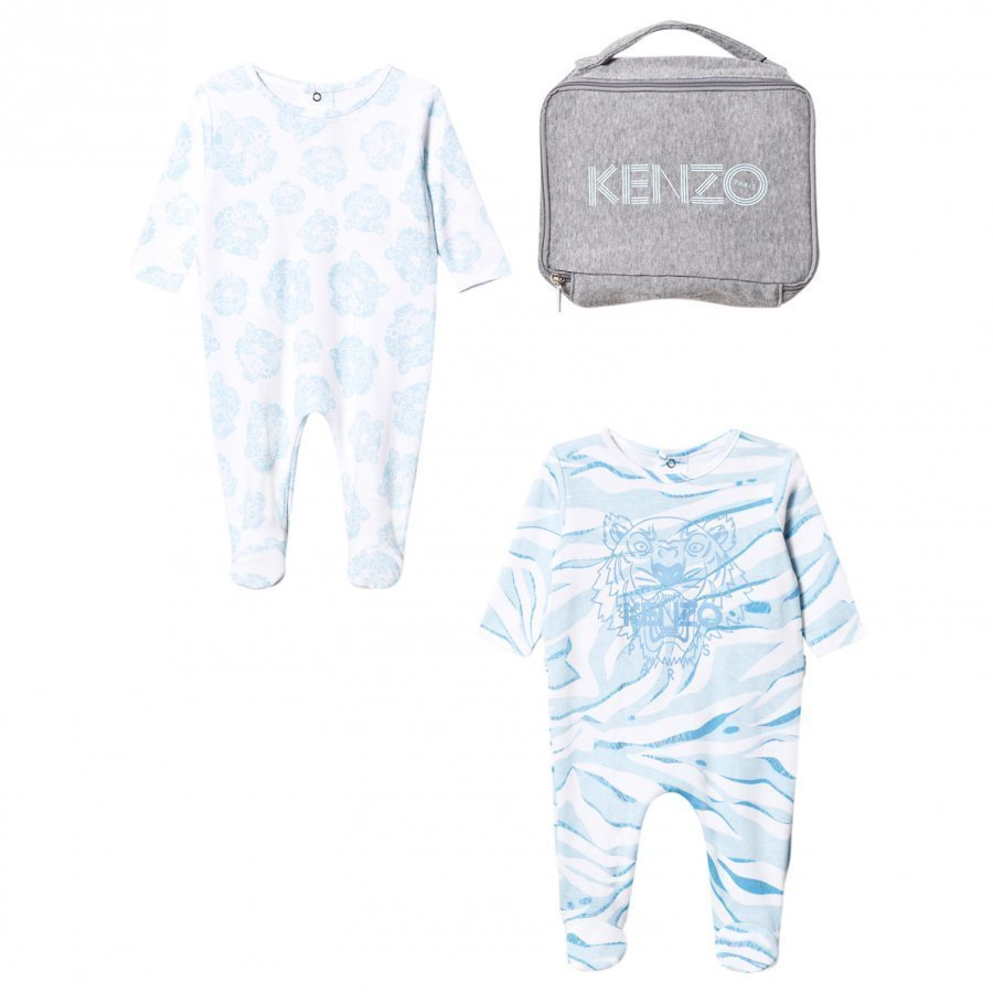 Kenzo 2 Pack Footed Baby Body Tiger Blue Body