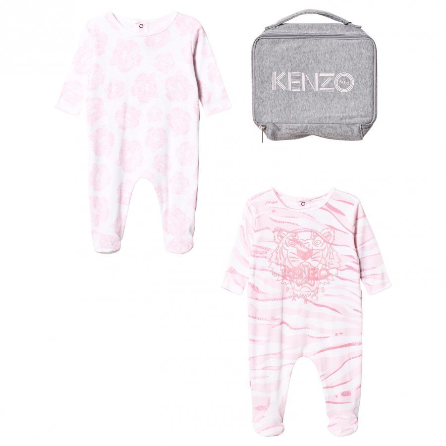 Kenzo 2 Pack Footed Baby Body Tiger Pink Body