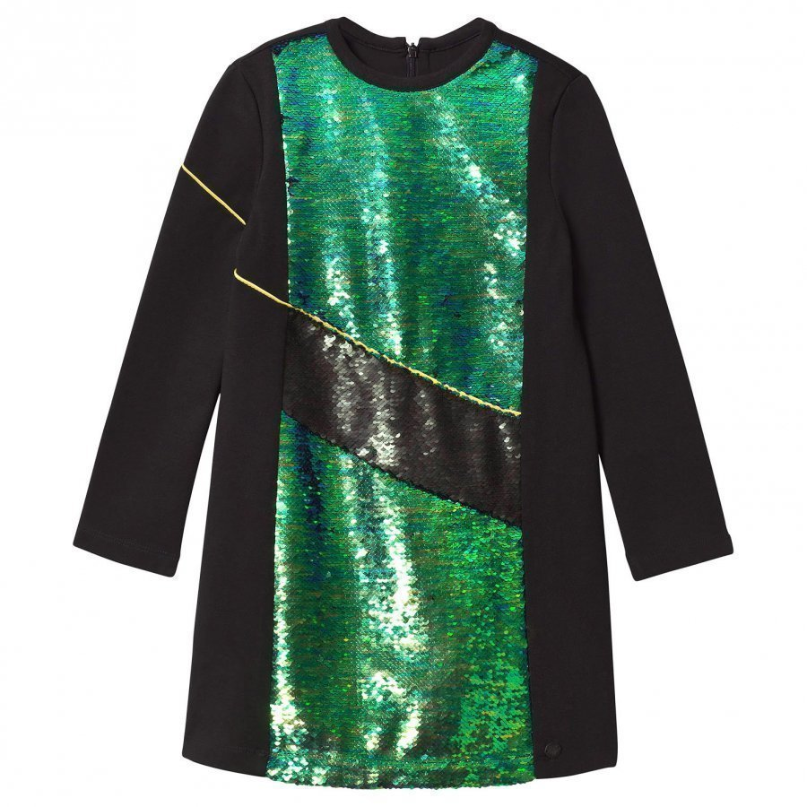 Kenzo Black And Green Sequin Front Milano Dress Juhlamekko