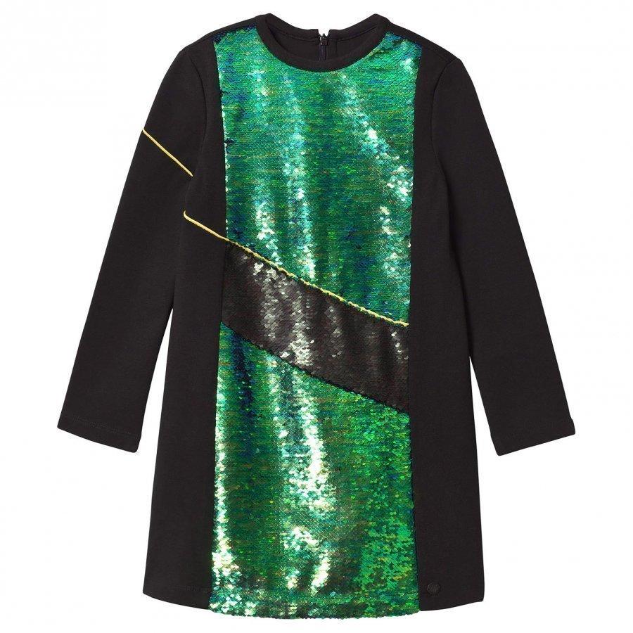 Kenzo Black And Green Sequin Front Milano Dress Juhlamekko